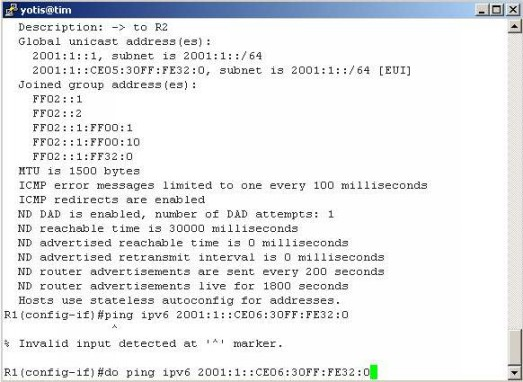 IPv6 Cisco interface config