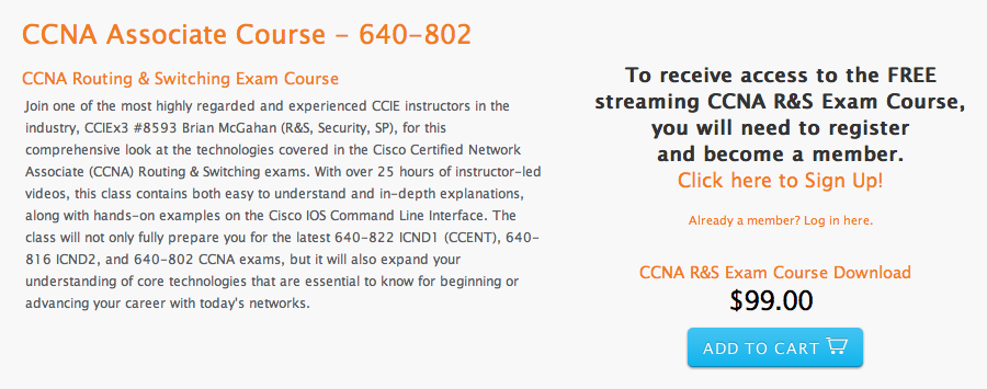Free streaming course CCNA 640-802 from INE