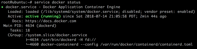 Docker service successful status